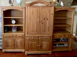 3 Piece wood bookshelves drawers, cabinet and tv stand in middle for Sale in Laguna Beach, CA