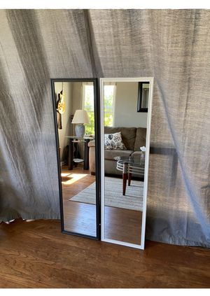 """White/black mirror 49.5"""" x 13.5"""" Great for rooms & make up. Can deliver San Diego county $5-$10 for Sale in San Diego, CA"""