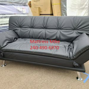No Credit Needed No Money Down Black Faux Leather Sofa Bed for Sale in East Riverdale, MD