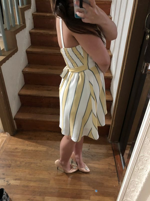 Yellow and White Dress by Windsor - Size Small