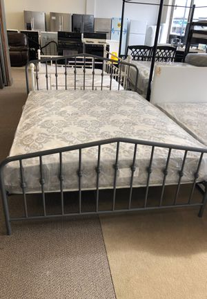 Queen metal bed frame and mattress for Sale in Indianapolis, IN