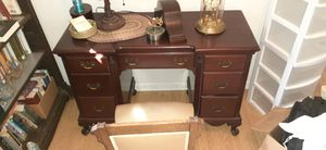 Antique desk chair & lamp. Mahagune wood. Very nice piece of furniture. for Sale in Glyndon, MD