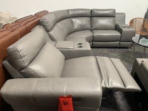 Josephia 6 Piece sectional couch with one power recliner, power headrest and USB port for Sale in Corona, CA
