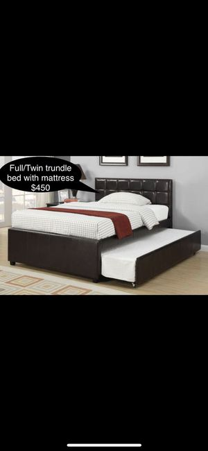 Brand new Beautiful Full / twin trundle bed with mattress for Sale in Fresno, CA