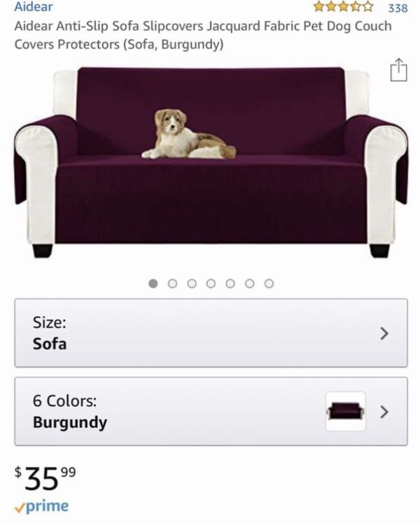 "Like New 70"" Burgundy Aidear Anti-Slip Sofa Slipcover Jacquard Fabric Pet Dog Couch Cover Protector"