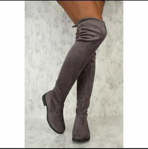Grey thigh high boots for Sale in Riverside, CA