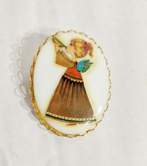 Vintage Jewelry Girl Playing Trumpet Brooch GOLD Pin for Sale in Hendersonville, TN