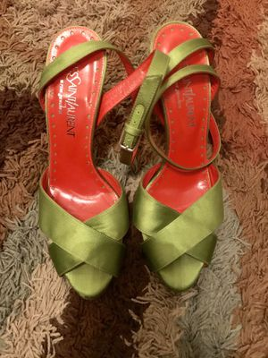 Yves Saint Laurent Chartreuse ankle strap pumps! Size 39.5! for Sale in Washington, MD
