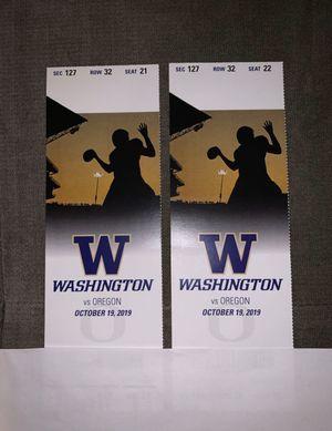 Washington Huskies vs Oregon Ducks 10/19 LOWER LEVEL for Sale in Seattle, WA