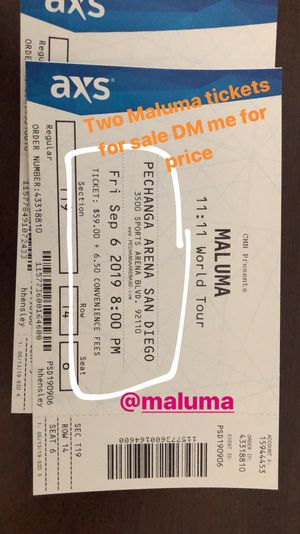 Maluma tickets 2 for Sale in La Mesa, CA
