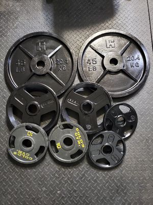 """Olympic weight plates pairs 2"""" 45x25x10x5 for Sale in North Las Vegas, NV"""