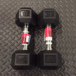 15 lbs hex Rubber Dumbbells Pair!! Brand New! for Sale in Northbrook, IL