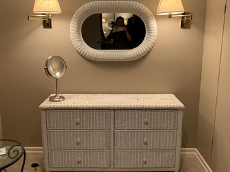 Wicker Dresser White With Mirror for Sale in West Linn,  OR