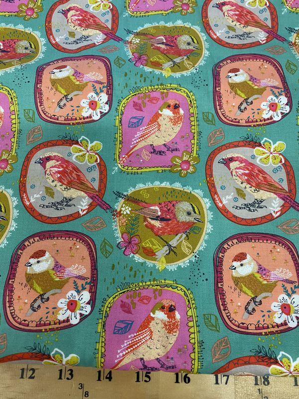Beautiful Birds in frame cotton fabric 1 yard