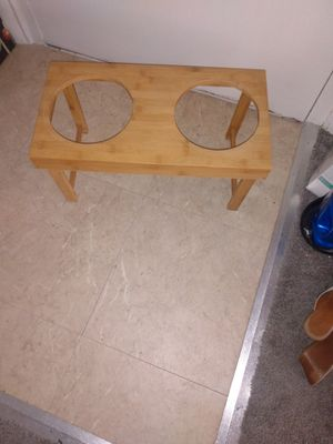 Wooden pet dish stand 10 H 21 L for Sale in Alexandria, VA