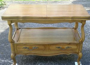 Antique VANLEIGH Wood Table w/ Fold Out Tabletop for Sale in Aspen Hill, MD