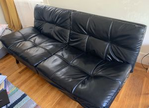Black faux leather futon - excellent condition for Sale in Sacramento, CA