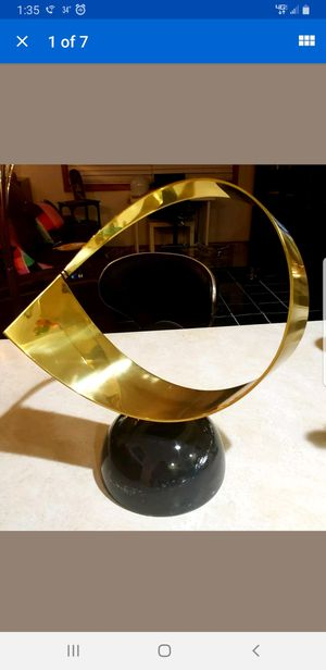 CURTIS JERE MID-CENTURY MODERN 14in BRASS & MARBLE FREE FORM RIBBON SCULPTURE for Sale in Milford, CT