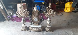 3 piece antique clock and candle holder set. for Sale in Tacoma, WA
