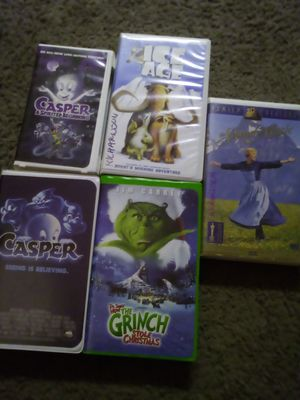 Ice age, the Grinch, the sound of music, Casper seeing is believing and a spirited beginning VHS for Sale in Port Orchard, WA
