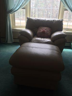 Cream sofa leather for Sale in Sanford, ME