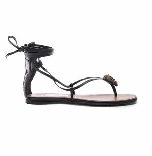 Valentino Tribe Gladiator Leather Flat Sandals In Black & Deep Ebano for Sale in Evesham Township, NJ