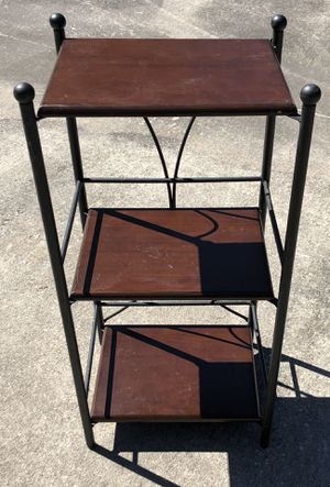nice metal and wood three tier shelf for Sale in The Woodlands, TX