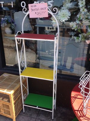 Vintage iron bakers rack rasta colors 17 by 9 by 60 for Sale in San Diego, CA