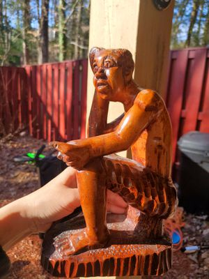 Antique African American Haitian Black Man Wood Sculpture Signed for Sale in Woodbridge, VA