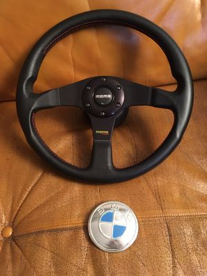Vintage MOMO 350mm steering wheel, excellent condition, from a 1973 BMW, with hub for Sale in Half Moon Bay, CA