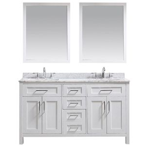 "60"" Double Bathroom Vanity with Carrara Marble Top for Sale in Fort Lauderdale, FL"