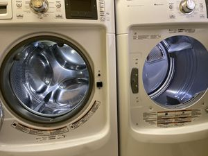 2014? Maytag Washer and Gas Dryer with Storage Pedestals and Shelve on Top for Sale in Cherry Hill, NJ