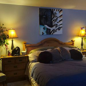 King Size Bed Pillow Top Mattress And Box Spring, 2 Night Stands And Head Board for Sale in Salem, OR