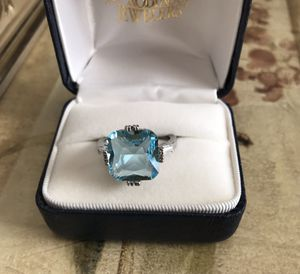 Stunning Sterling silver Aqua Blue Topaz Ring Size 8 for Sale in Melrose Park, IL