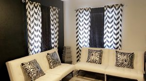 Living room couches pillows curtains decoration boxes for Sale in Phoenix, AZ