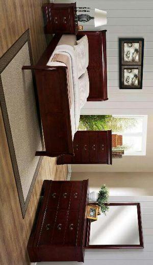 Marietta [SOLID WOOD] Cherry Queen Size Bedroom Set  ask king size bedroom set juego de dormitorio for Sale in Tyler, TX