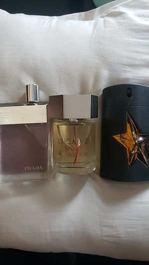 prada amber, ysl lhomme sport and Thierry mugler pure malt for Sale in Boston, MA