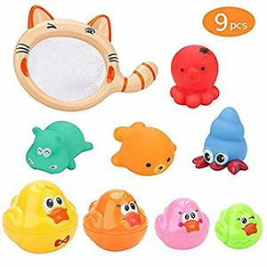 2 packs BestFire Baby Bath Toys, 9pcs Floating Bath Toy Little Animals Baby Float Squirt Sound Toys with Fishing Net for 1 2 3 Year Girls and Boys for Sale in Hawthorne, CA