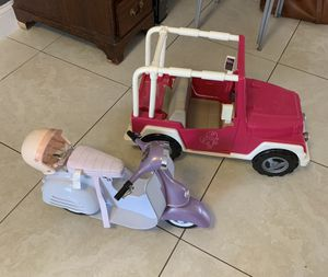 Og Girl, Our Generation, American Girl, Jeep and Motorbike Pair for Sale in Hollywood, FL