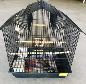 Medium Sized Bird Cage with Gravel Paper and Sanded Perch Covers for Sale in Clovis, CA