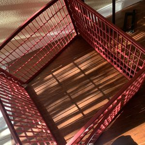 Red Portable Dog Cage, Two Front Latches, Top Netting for Sale in Oakland, CA