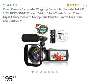 YIDA TECH 4.0 out of 5 stars 411 Reviews Video Camera Camcorder Vlogging Camera for Youtube Full HD 2.7K 30FPS 30 MP IR Night Vision 3 Inch Touch S for Sale in Hoover, AL