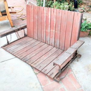 Outdoor Swing Patio Porch Solid Redwood Very Sturdy Hanging Chains Attached for Sale in La Mirada, CA