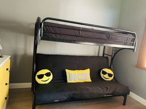 Bunk bed in black metal frame for Sale in San Clemente, CA