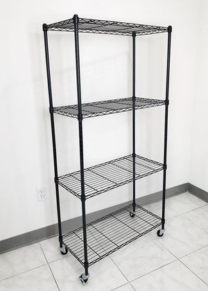 "New $50 Metal 4-Shelf Shelving Storage Unit Wire Organizer Rack Adjustable w/ Wheel Casters 30x14x61"" for Sale in El Monte, CA"