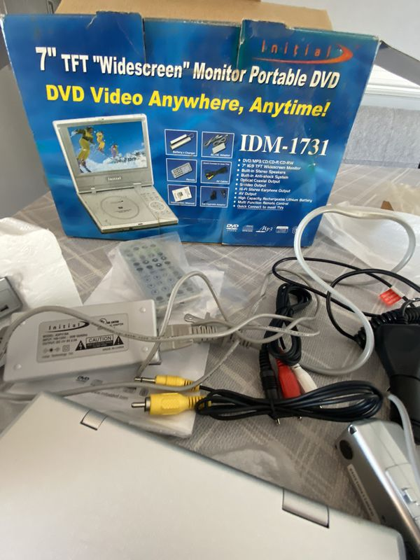 "Initial Portable DVD Player - 7"" Wide Screen Model IDM-1731 - Works Great!"