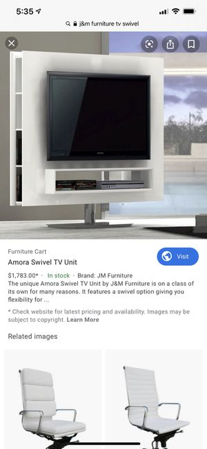 White Lacquer JM Furniture Swivel TV Stand for Sale in Beverly Hills, CA