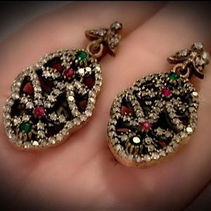 EMERALD RED RUBY FINE ART DANGLE POST EARRINGS Solid 925 Sterling Silver/Gold WOW! Brilliantly Faceted Round Cut Gemstones, Diamond Topaz M7337 V for Sale in San Diego, CA