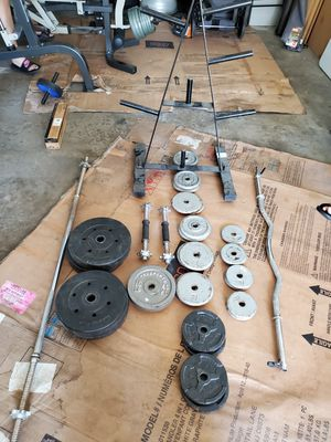 Standard weight set. Weight tree ,Dumbells,curling bar and bar for Sale in Fontana, CA