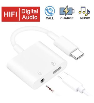 USB C/Type C tp 3.5mm Audio Auxiliary Adapter 2 in 1- Headphone Converter - PD60W fast charging, support volume control, compatible with Google Pixel for Sale in Montebello, CA